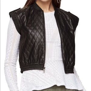 BCBG Quilted Faux Leather Vest